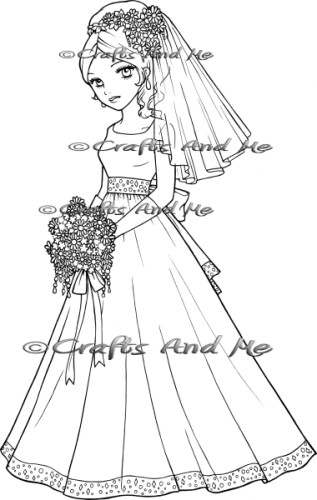 Melody the bride unmounted rubber stamp for Wedding dress rubber stamp