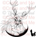 *New*Aurora Reindeer Digital Stamp