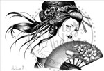 *New*Kimono Girl Greyscale  Digital Stamp